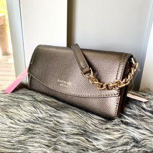 NWT Kate Spade metallic leather crossbody clutch